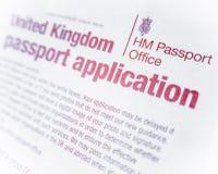 Forma britannica del passaporto Immagine Stock