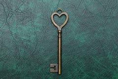 Forma chiave d'annata del cuore Fotografia Stock Libera da Diritti