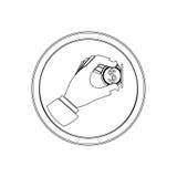 Forma circular da silhueta com o ícone da moeda da inserção do sinal de aviso liso ilustração do vetor