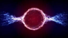 Forma circular del plasma futurista roja de la ciencia ficción del extracto con los movimientos de la luz de la energía ilustración del vector