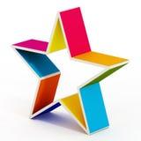 Forma coloreada multi de la estrella aislada en el fondo blanco ilustración del vector