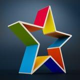 Forma coloreada multi de la estrella aislada en fondo negro libre illustration