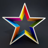 Forma coloreada multi de la estrella aislada en fondo negro stock de ilustración