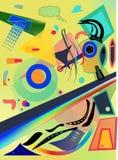 Forma colorida abstracta de la suposición de la pizca del fondo en amarillo Foto de archivo