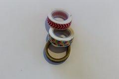 Forma colorido de las etiquetas scrapbooking sobre blanco Fotografía de archivo libre de regalías