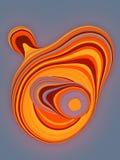 Forma cortada de color naranja 3D geométricos abstractos generados por ordenador rinden el ejemplo libre illustration