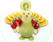 Forma creativa del pavone del dessert del bambino della frutta Immagine Stock Libera da Diritti