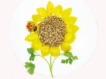 Forma creativa do girassol e do ladybug do papa de aveia Foto de Stock
