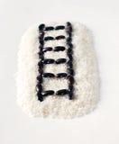 Forma crua creativa da estrada de ferro do arroz e dos feijões Foto de Stock