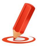 Forma curva del disegno a matita rosso Fotografie Stock Libere da Diritti