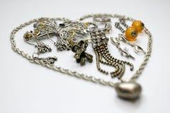 Forma d'argento del cuore dei gioielli Fotografia Stock Libera da Diritti