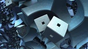 forma 3D geométrica abstrata dos cubos azuis Imagem de Stock Royalty Free
