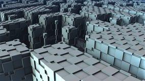 forma 3D geométrica abstrata dos cubos azuis Fotografia de Stock