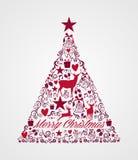 Forma da árvore do Feliz Natal completamente de estuques dos elementos Fotos de Stock Royalty Free