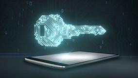 A forma da chave, linha clara de placa de circuito, tecnologia de segurança no telefone esperto, móbil, almofada esperta, cresce