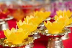 Forma da flor da cor da vela para a vírgula flutuante fotos de stock
