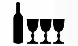 Forma da garrafa & dos vidros de vinho Imagens de Stock