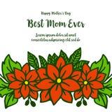 Forma da ilustração do vetor da melhor mamã do cartão para quadros alaranjados bonitos do bouqet ilustração royalty free