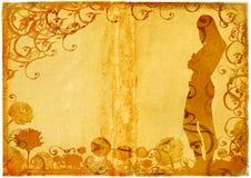 Forma da mulher de Grunge no fundo da margarida e dos rolos ilustração stock