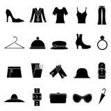 Forma da mulher e ícones da roupa Fotografia de Stock Royalty Free