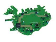 Forma da placa de circuito do isolado do mapa de Islândia no fundo branco ilustração do vetor