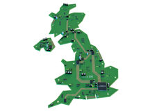 Forma da placa de circuito do isolado do mapa de Reino Unido na parte traseira do branco ilustração royalty free