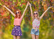 Forma da queda Menina dos amigos que tem o divertimento Parque ao ar livre Imagens de Stock Royalty Free