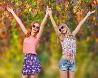Forma da queda Menina dos amigos que tem o divertimento Parque ao ar livre Foto de Stock