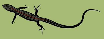 Forma da silhueta do lagarto com as escalas coloridas no fundo verde ilustração stock