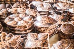 Forma da variedade do dishware de madeira feito a mão Foto de Stock