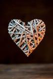 Forma de bambu do coração do weave Fotos de Stock Royalty Free