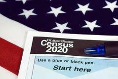 Forma 2020 de censo de Estados Unidos imagen de archivo libre de regalías