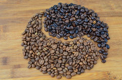 Forma de Coffe Yin Yang Foto de Stock Royalty Free