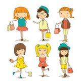 Forma de compra das meninas ilustração stock
