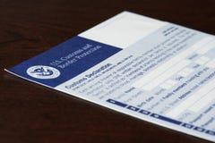 Forma de declaración de aduanas Fotografía de archivo