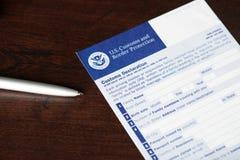 Forma de declaración de aduanas vacía de los E.E.U.U. Foto de archivo