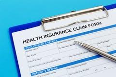 Forma de demanda del seguro médico fotografía de archivo libre de regalías