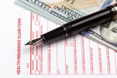 Forma de demanda del seguro médico Imágenes de archivo libres de regalías
