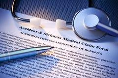 Forma de demanda médica del seguro Fotos de archivo libres de regalías