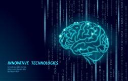Forma de Digitaces 3D del cerebro humano La línea poligonal polivinílica baja del punto de la partícula geométrica rinde Idea cre libre illustration