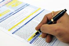 Forma de firma del seguro Imagen de archivo libre de regalías