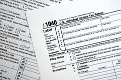 Forma de impuesto 1040, llano, concepto simple Fotografía de archivo libre de regalías