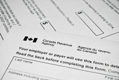 Forma de impuesto canadiense Foto de archivo