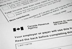 Forma de impuesto canadiense Fotos de archivo