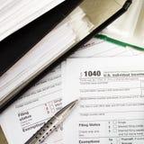 Forma de impuesto individual 1040 Fotografía de archivo libre de regalías