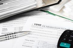 Forma de impuesto individual 1040 Imagen de archivo libre de regalías