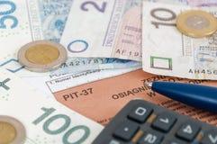 Forma de impuesto individual polaca PIT-37 Fotografía de archivo libre de regalías