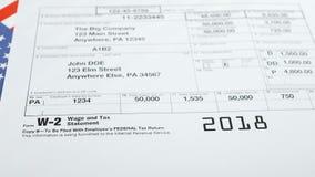 Forma de impuesto W-2 y declaración del impuesto metrajes