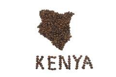 Forma de Kenya em feijões de Coffe Imagem de Stock Royalty Free