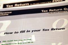 Forma de la declaración de impuestos Fotos de archivo libres de regalías